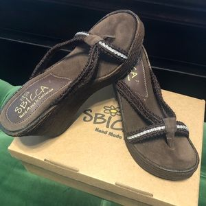 Sbicca Shoes - Sbicca Brown Jewel Wedge Sandals - Size 7